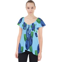Fruit Nordic Grapes Green Blue Lace Front Dolly Top