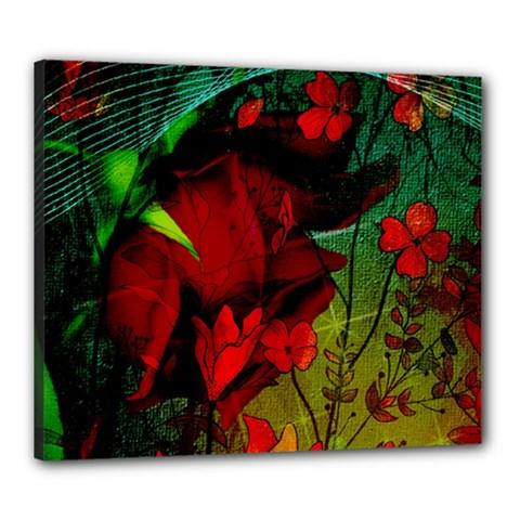 Flower Power, Wonderful Flowers, Vintage Design Canvas 24  X 20  by FantasyWorld7