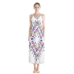 Free Symbol Hands Button Up Chiffon Maxi Dress by Mariart