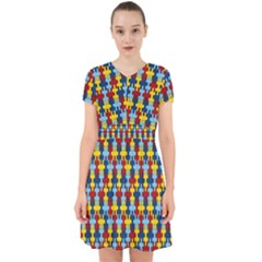 Fuzzle Red Blue Yellow Colorful Adorable In Chiffon Dress