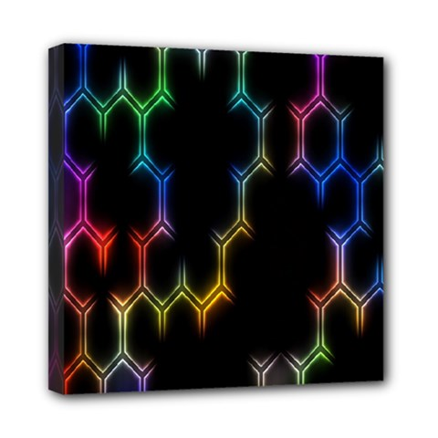Grid Light Colorful Bright Ultra Mini Canvas 8  X 8  by Mariart
