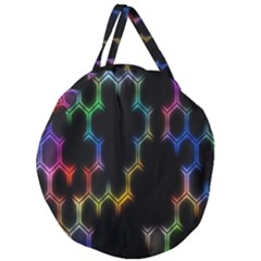 Grid Light Colorful Bright Ultra Giant Round Zipper Tote