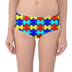 Game Puzzle Mid Waist Bikini Bottoms by Mariart