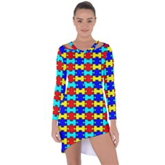 Game Puzzle Asymmetric Cut Out Shift Dress by Mariart