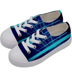 Grid Structure Blue Line Kids  Low Top Canvas Sneakers by Mariart
