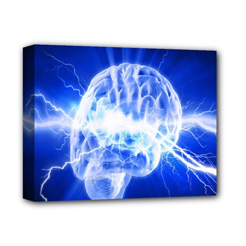 Lightning Brain Blue Deluxe Canvas 14  X 11  by Mariart