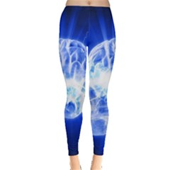 Lightning Brain Blue Leggings  by Mariart