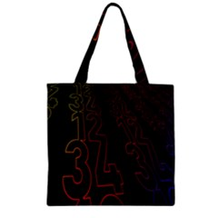 Neon Number Zipper Grocery Tote Bag by Mariart