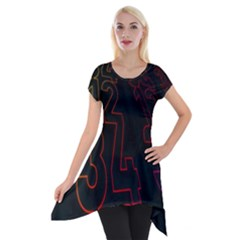 Neon Number Short Sleeve Side Drop Tunic by Mariart