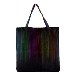 Line Rain Rainbow Light Stripes Lines Flow Grocery Tote Bag by Mariart