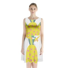 Pineapple Fruite Yellow Triangle Pink Sleeveless Waist Tie Chiffon Dress