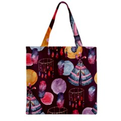 Boho Tribal Watercolor Pattern  Grocery Tote Bag by paulaoliveiradesign