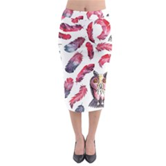 Boho Owl And Feather White Pattern Midi Pencil Skirt by paulaoliveiradesign