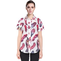 Boho Owl And Feather White Pattern Women s Short Sleeve Shirt