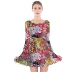 Garden Abstract Long Sleeve Velvet Skater Dress by theunrulyartist