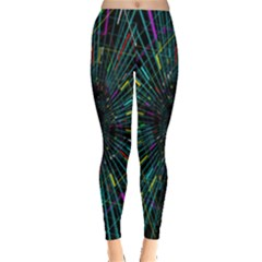 Colorful Geometric Electrical Line Block Grid Zooming Movement Leggings  by Mariart