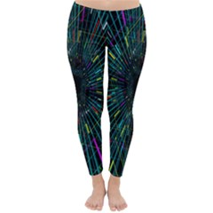 Colorful Geometric Electrical Line Block Grid Zooming Movement Classic Winter Leggings by Mariart