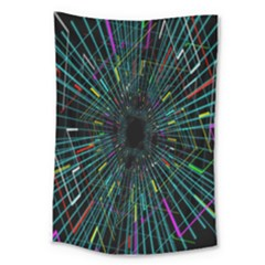 Colorful Geometric Electrical Line Block Grid Zooming Movement Large Tapestry by Mariart