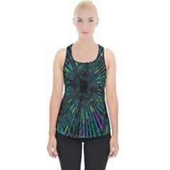 Colorful Geometric Electrical Line Block Grid Zooming Movement Piece Up Tank Top