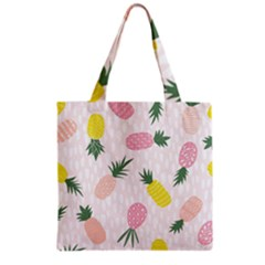Pineapple Rainbow Fruite Pink Yellow Green Polka Dots Grocery Tote Bag by Mariart
