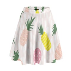 Pineapple Rainbow Fruite Pink Yellow Green Polka Dots High Waist Skirt by Mariart