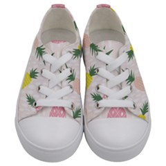 Pineapple Rainbow Fruite Pink Yellow Green Polka Dots Kids  Low Top Canvas Sneakers