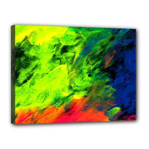 Neon Rainbow Green Pink Blue Red Painting Canvas 16  X 12  by Mariart