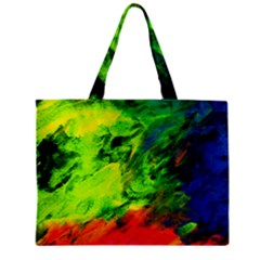 Neon Rainbow Green Pink Blue Red Painting Zipper Mini Tote Bag by Mariart