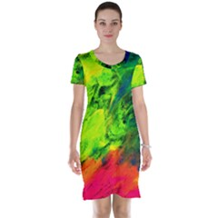 Neon Rainbow Green Pink Blue Red Painting Short Sleeve Nightdress by Mariart