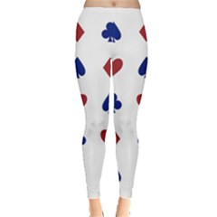 Playing Cards Hearts Diamonds Leggings  by Mariart
