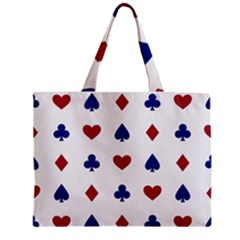 Playing Cards Hearts Diamonds Zipper Mini Tote Bag by Mariart