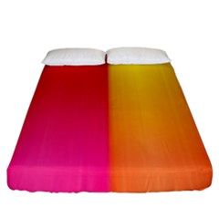 Rainbow Stripes Vertical Lines Colorful Blue Pink Orange Green Fitted Sheet (king Size) by Mariart