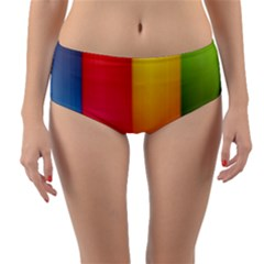 Rainbow Stripes Vertical Lines Colorful Blue Pink Orange Green Reversible Mid Waist Bikini Bottoms by Mariart