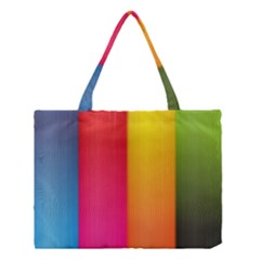Rainbow Stripes Vertical Lines Colorful Blue Pink Orange Green Medium Tote Bag by Mariart