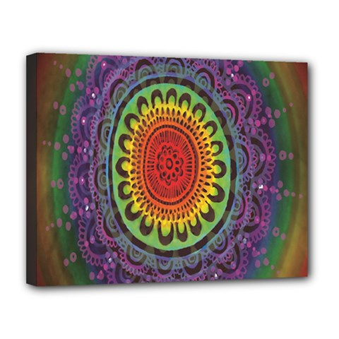 Rainbow Mandala Circle Canvas 14  X 11  by Mariart