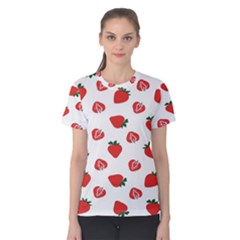 Red Fruit Strawberry Pattern Women s Cotton Tee