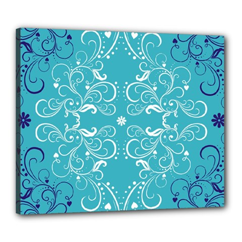 Repeatable Patterns Shutterstock Blue Leaf Heart Love Canvas 24  X 20  by Mariart