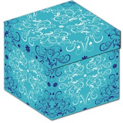 Repeatable Patterns Shutterstock Blue Leaf Heart Love Storage Stool 12   by Mariart