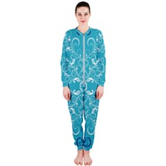 Repeatable Patterns Shutterstock Blue Leaf Heart Love Onepiece Jumpsuit (ladies)