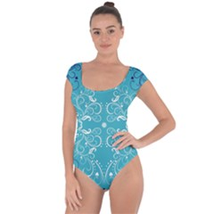 Repeatable Patterns Shutterstock Blue Leaf Heart Love Short Sleeve Leotard  by Mariart