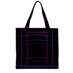 Retro Neon Grid Squares And Circle Pop Loop Motion Background Plaid Purple Zipper Grocery Tote Bag by Mariart