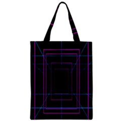 Retro Neon Grid Squares And Circle Pop Loop Motion Background Plaid Purple Zipper Classic Tote Bag by Mariart
