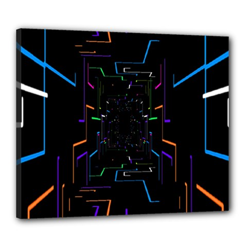 Seamless 3d Animation Digital Futuristic Tunnel Path Color Changing Geometric Electrical Line Zoomin Canvas 24  X 20  by Mariart