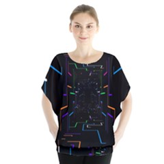 Seamless 3d Animation Digital Futuristic Tunnel Path Color Changing Geometric Electrical Line Zoomin Blouse