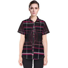 Retro Neon Grid Squares And Circle Pop Loop Motion Background Plaid Women s Short Sleeve Shirt