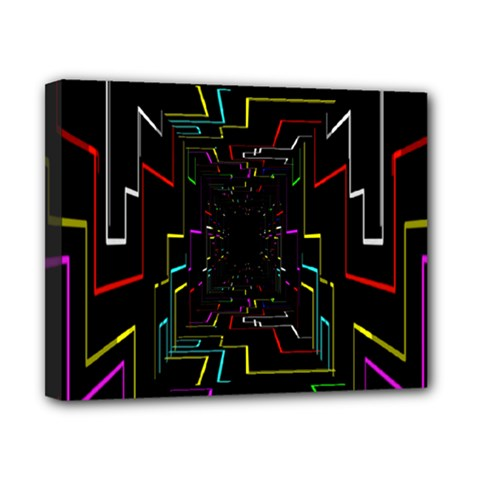 Seamless 3d Animation Digital Futuristic Tunnel Path Color Changing Geometric Electrical Line Zoomin Canvas 10  X 8  by Mariart