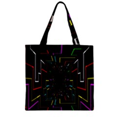 Seamless 3d Animation Digital Futuristic Tunnel Path Color Changing Geometric Electrical Line Zoomin Zipper Grocery Tote Bag