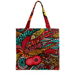 Seamless Texture Abstract Flowers Endless Background Ethnic Sea Art Grocery Tote Bag by Mariart