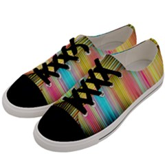 Sound Colors Rainbow Line Vertical Space Men s Low Top Canvas Sneakers by Mariart