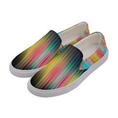 Sound Colors Rainbow Line Vertical Space Women s Canvas Slip Ons by Mariart